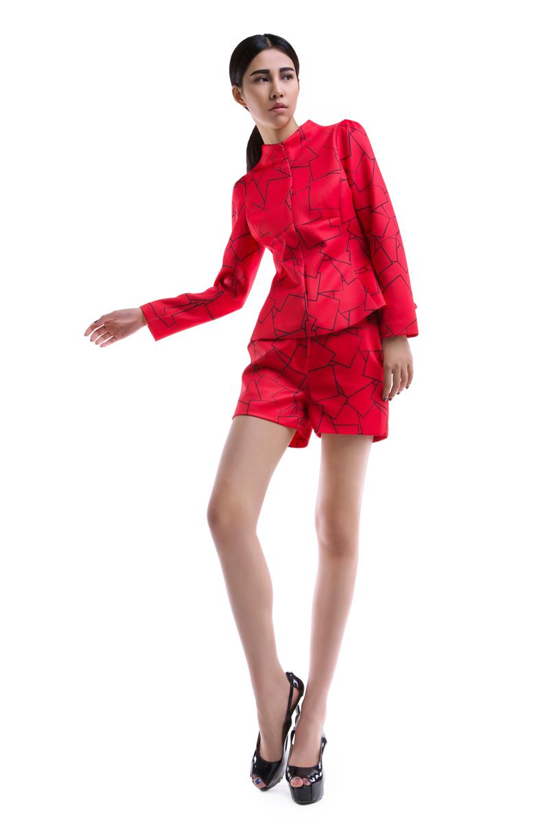 2i61012#模特实拍~欧美大牌时尚几何图案套装